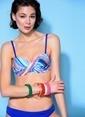 Loves You Desenli Dönmeli Cup Bikini Takım Lacivert